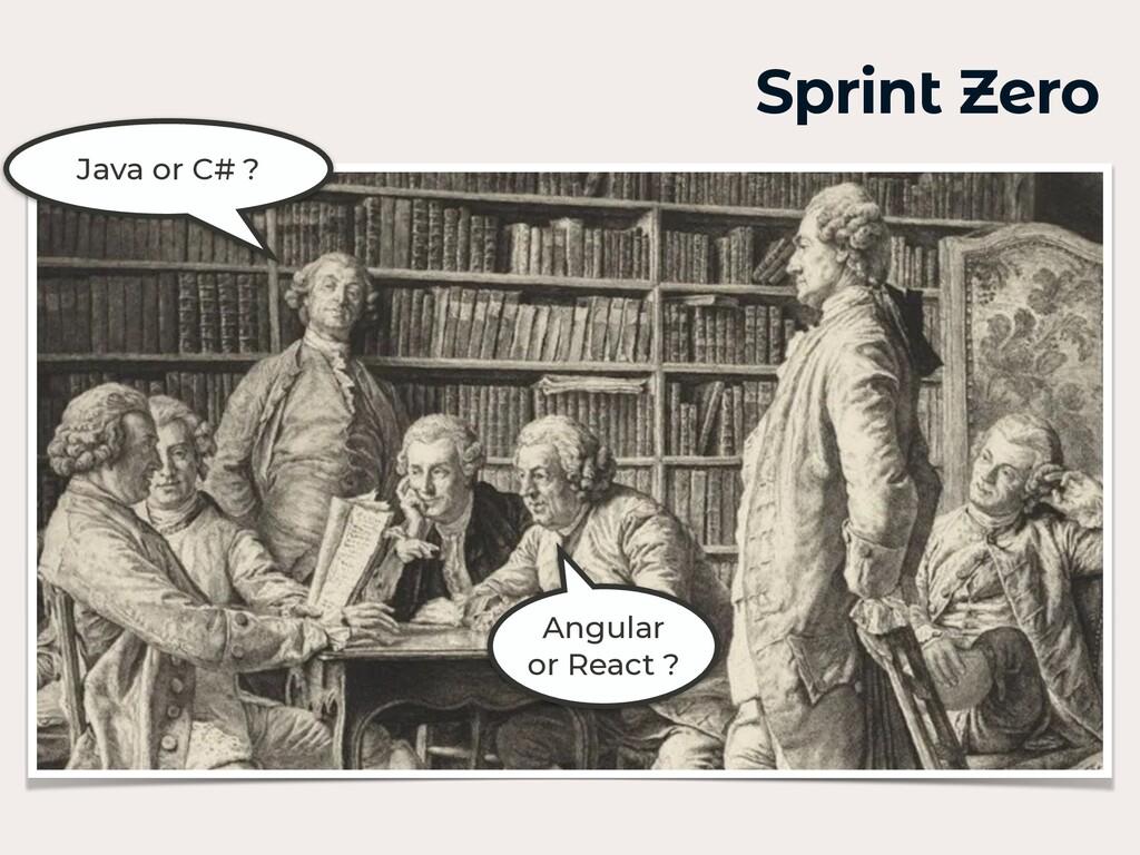 Sprint Zero Java or C# ? Angular or React ?
