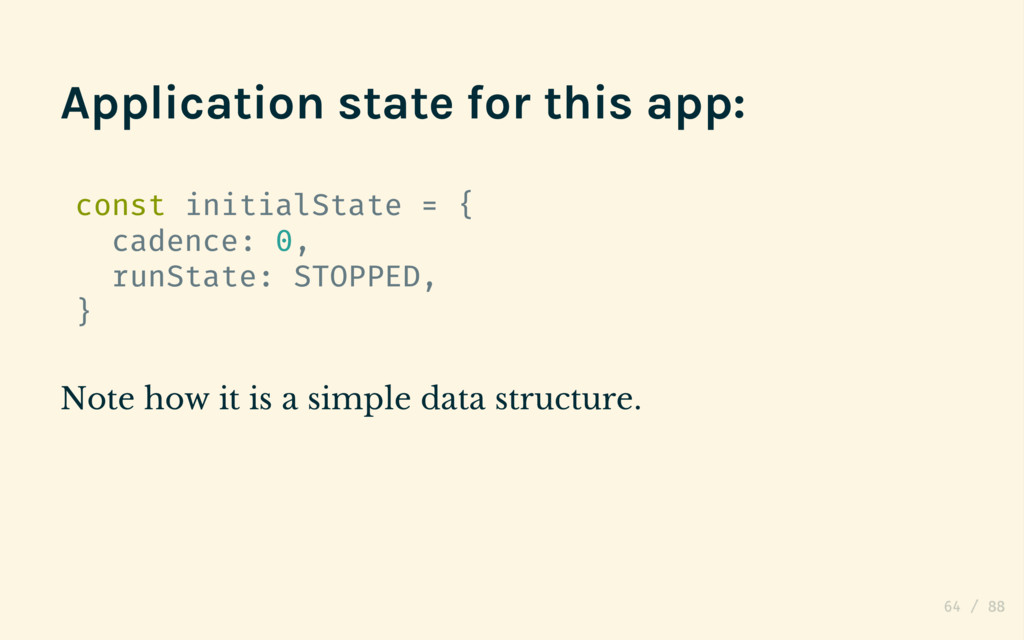 Application state for this app: const initialSt...