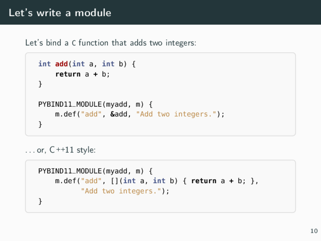 Let's write a module Let's bind a C function th...