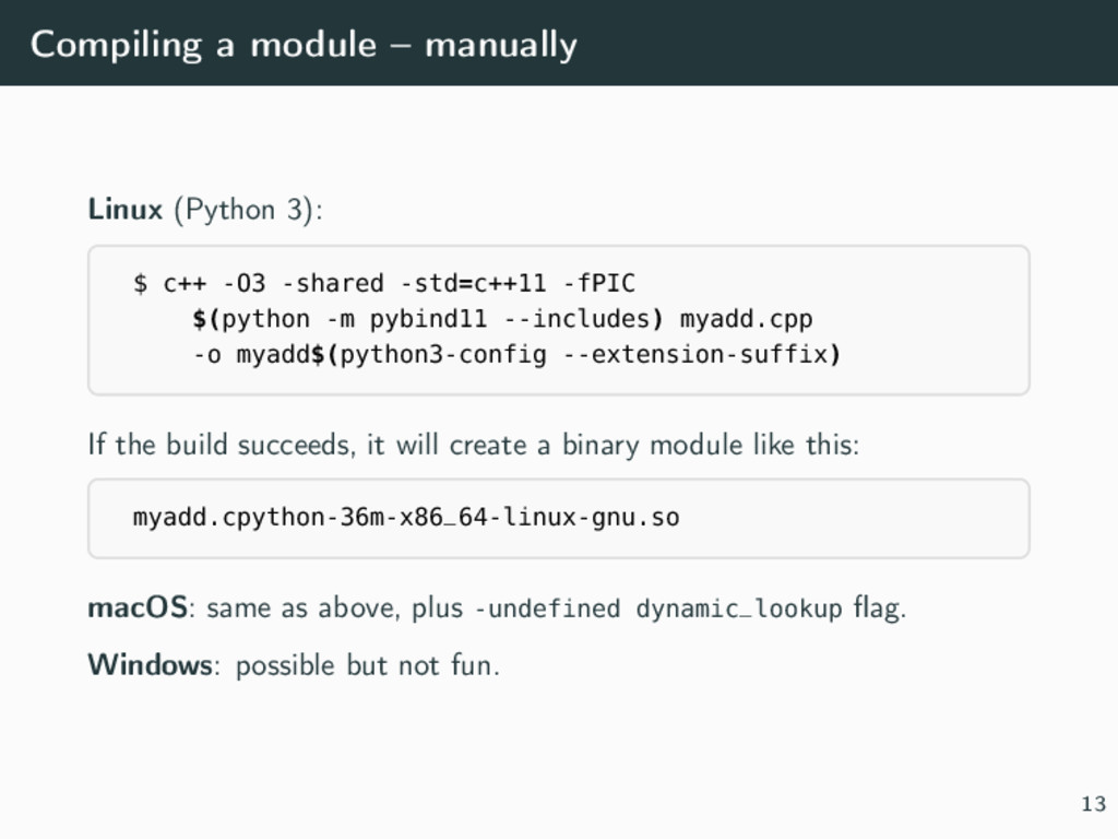 Compiling a module – manually Linux (Python 3):...