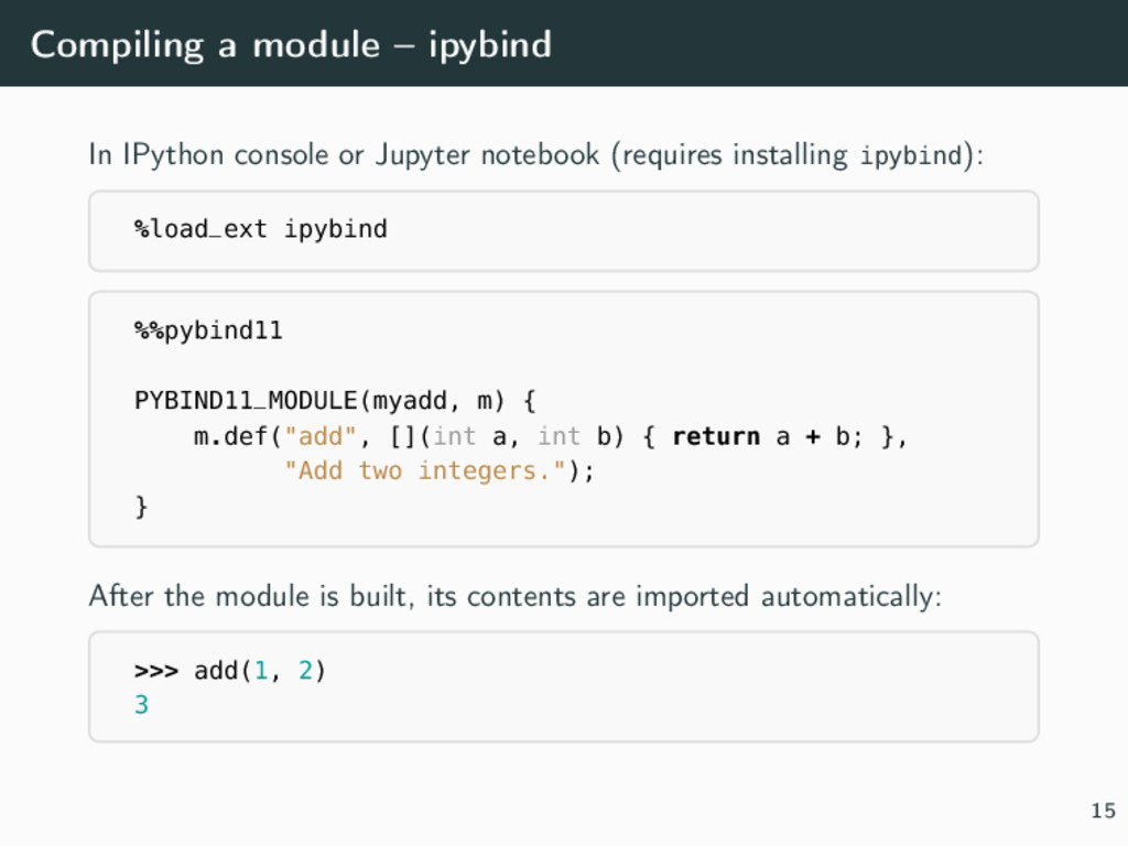 Compiling a module – ipybind In IPython console...