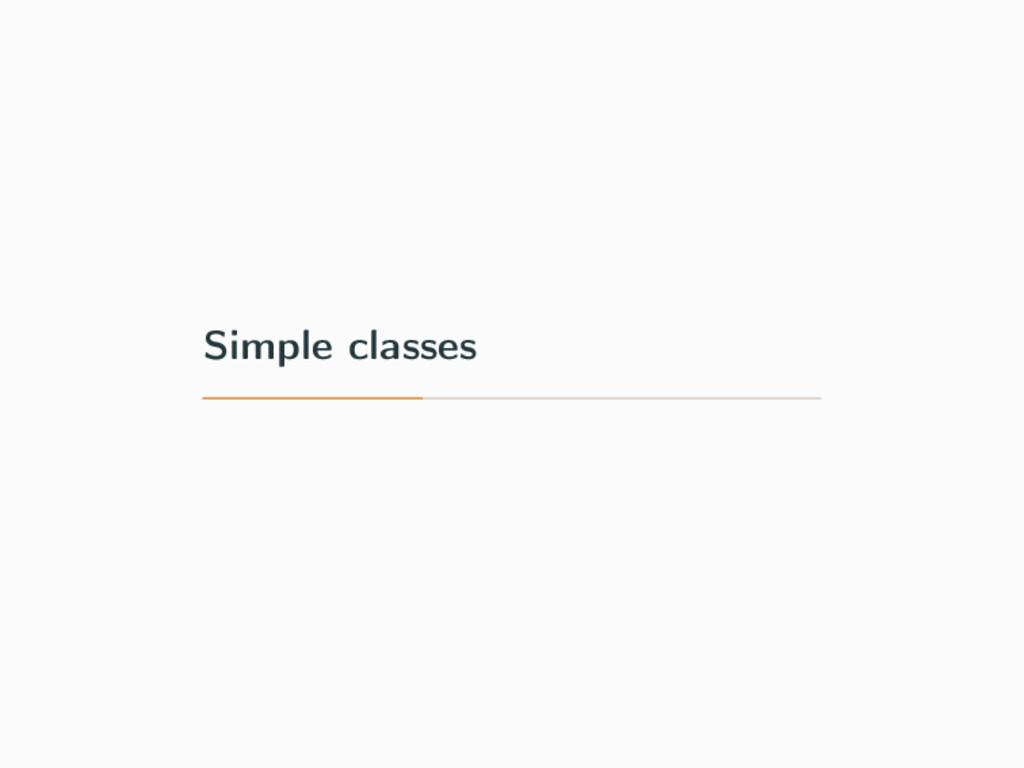 Simple classes