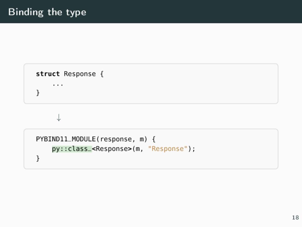 Binding the type struct Response { ... } ↓ PYBI...