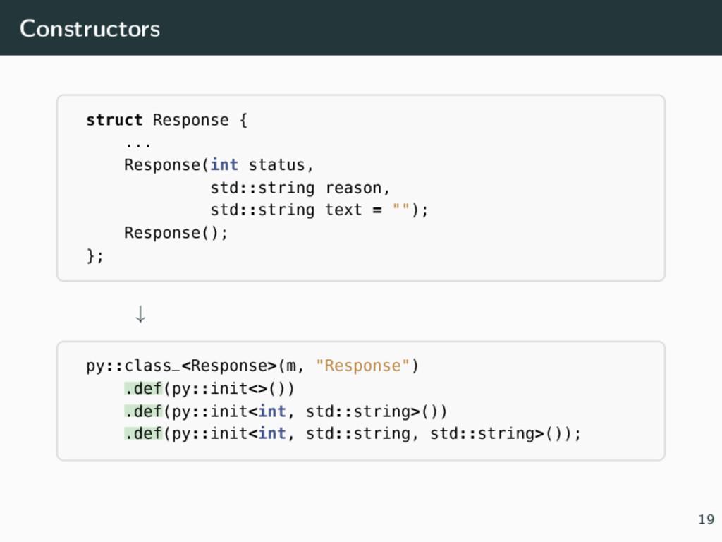 Constructors struct Response { ... Response(int...