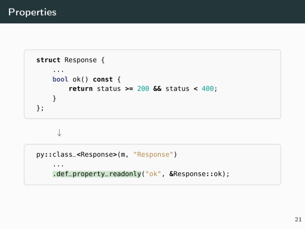 Properties struct Response { ... bool ok() cons...