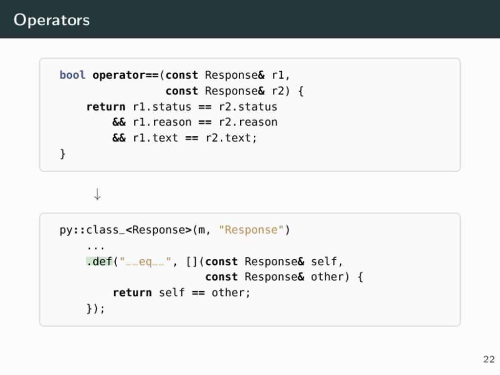Operators bool operator==(const Response& r1, c...