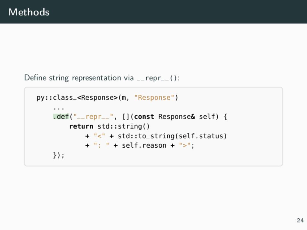 Methods Define string representation via __repr_...