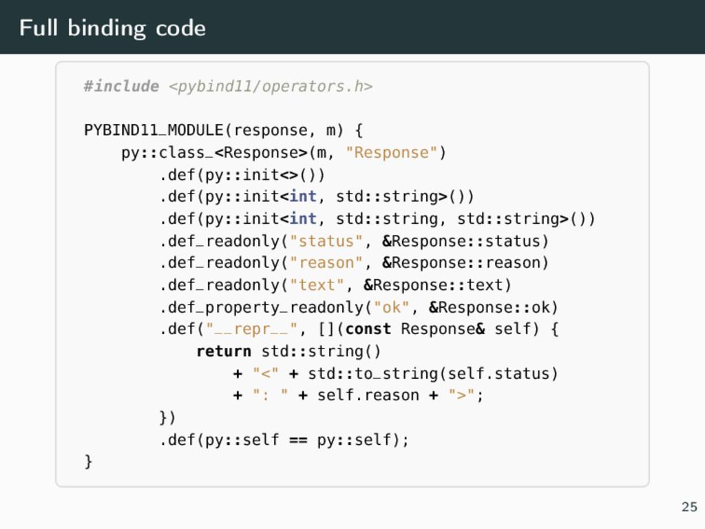 Full binding code #include <pybind11/operators....