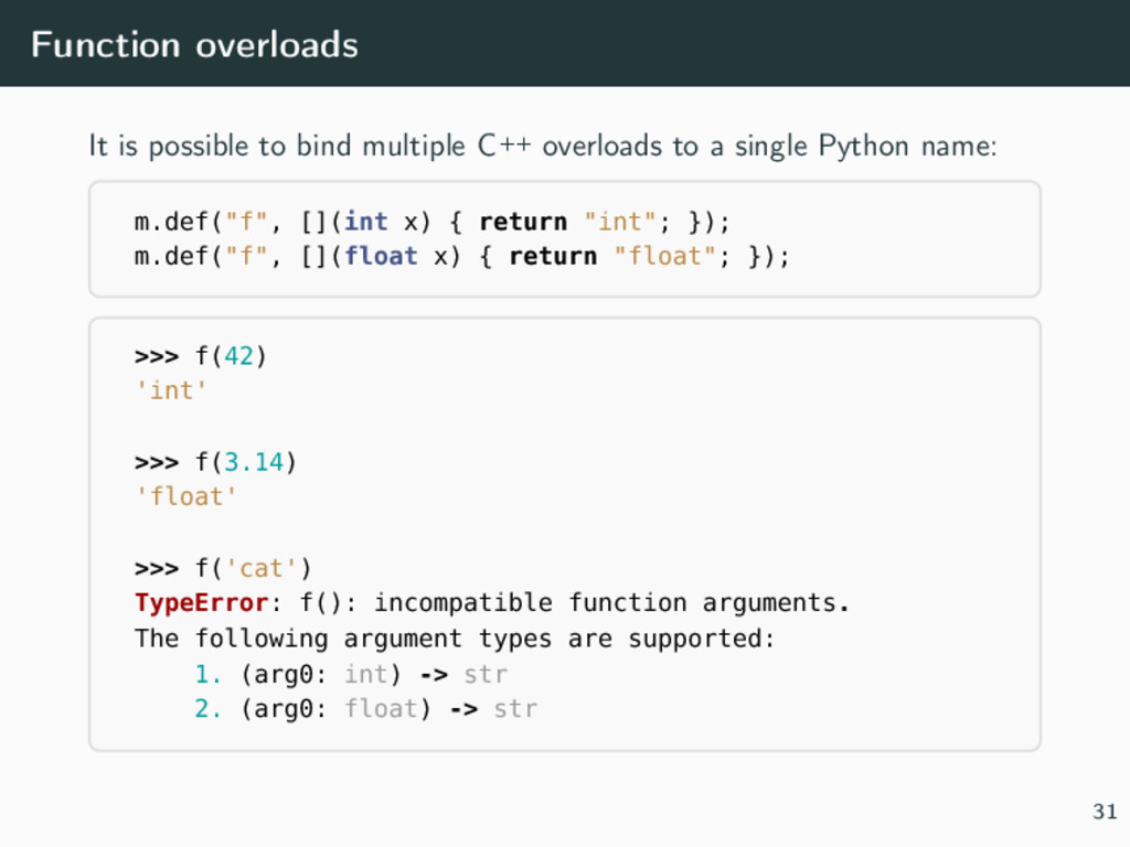 Function overloads It is possible to bind multi...