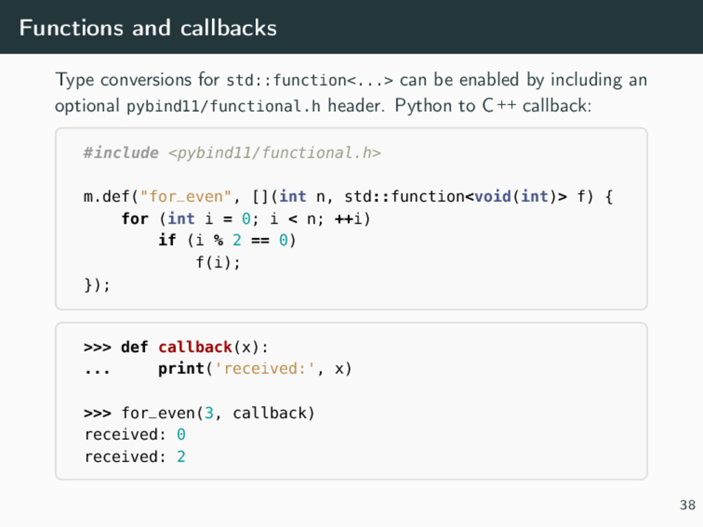Functions and callbacks Type conversions for st...