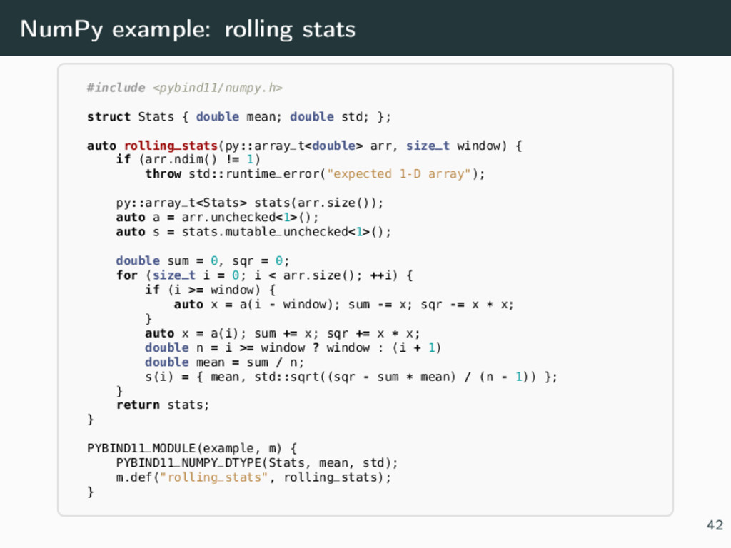 NumPy example: rolling stats #include <pybind11...