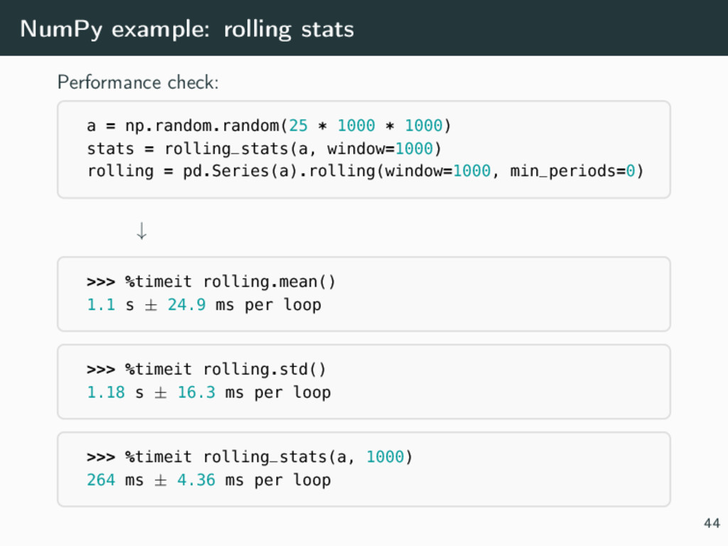 NumPy example: rolling stats Performance check:...