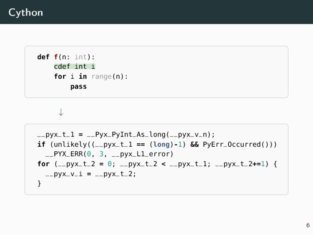 Cython def f(n: int): cdef int i for i in range...