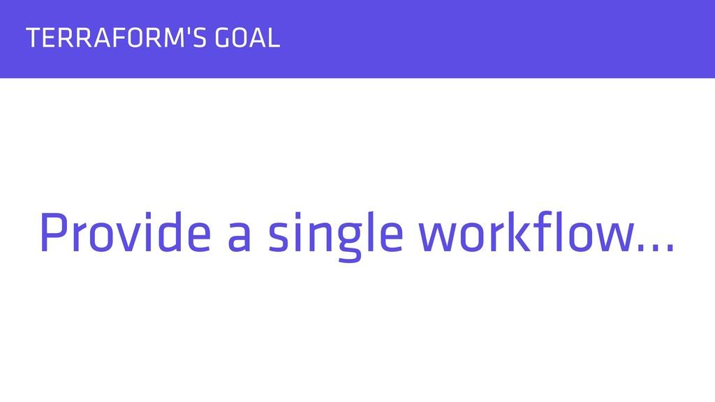 TERRAFORM'S GOAL Provide a single workflow…