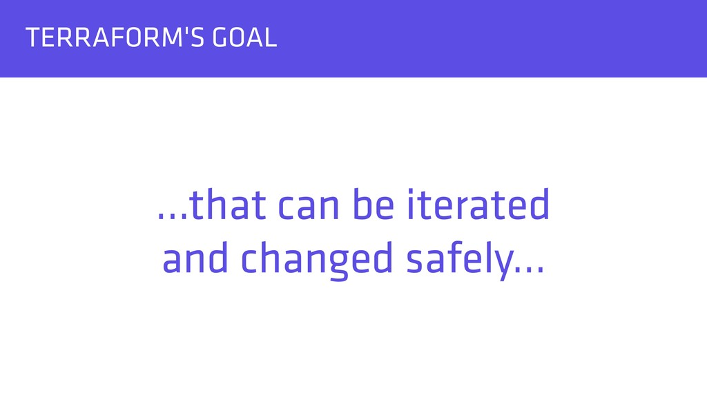 TERRAFORM'S GOAL …that can be iterated and cha...