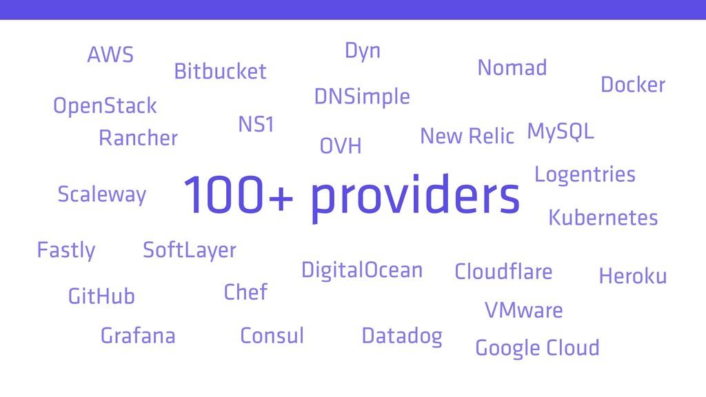 100+ providers AWS Bitbucket Chef Cloudflare Con...