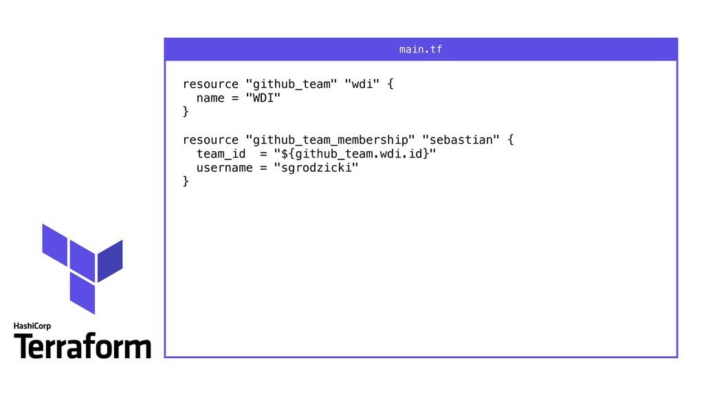 """resource """"github_team"""" """"wdi"""" { name = """"WDI"""" }..."""