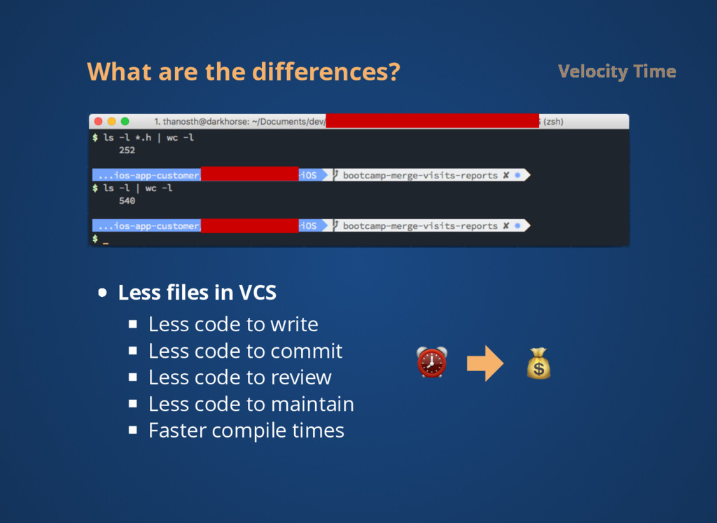 What are the differences? Velocity Time Less file...