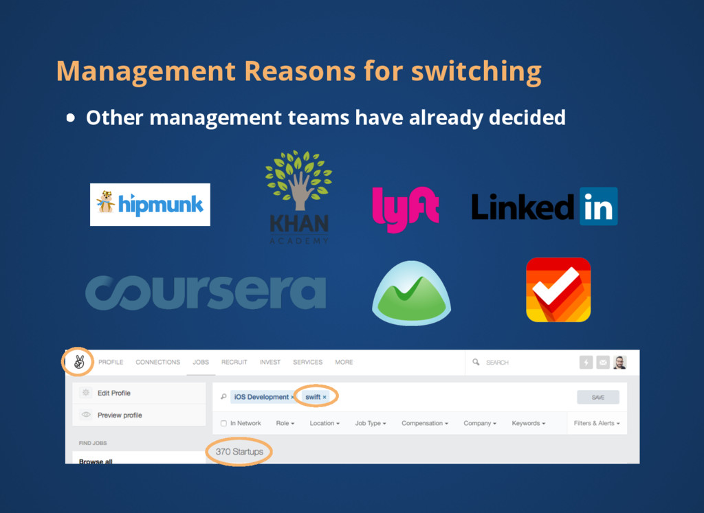 Management Reasons for switching Other manageme...
