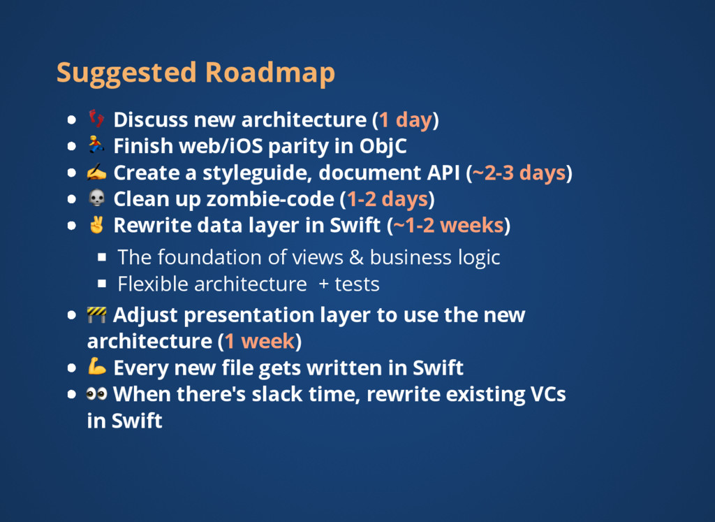 Suggested Roadmap   Discuss new architecture (1...