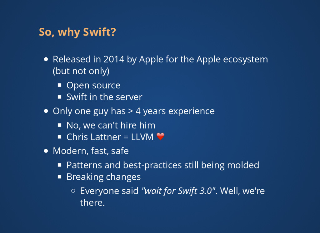 So, why Swift? Released in 2014 by Apple for th...