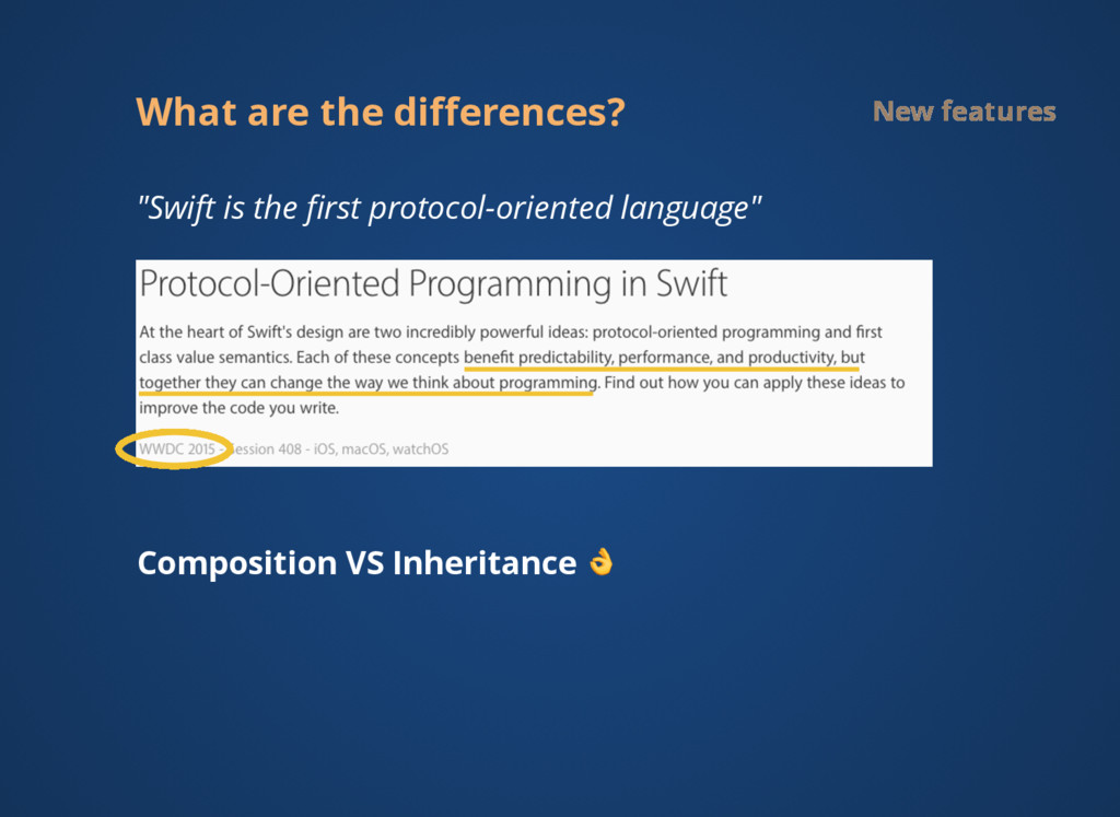 """What are the differences? New features """"Swift is..."""