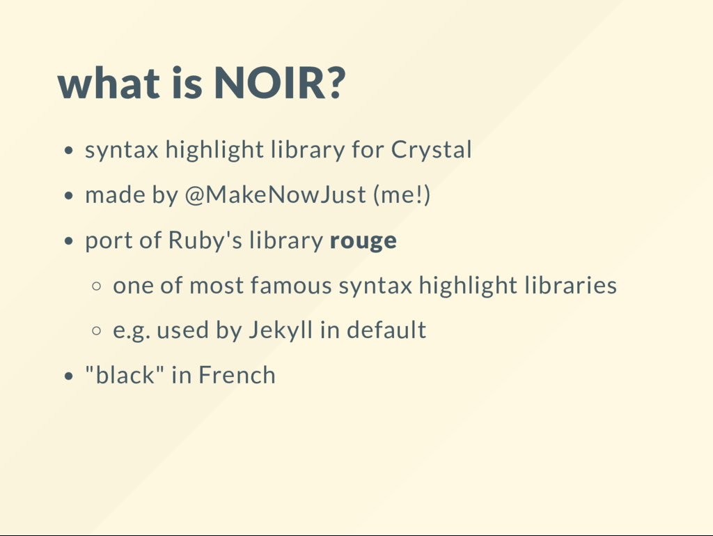 what is NOIR? syntax highlight library for Crys...