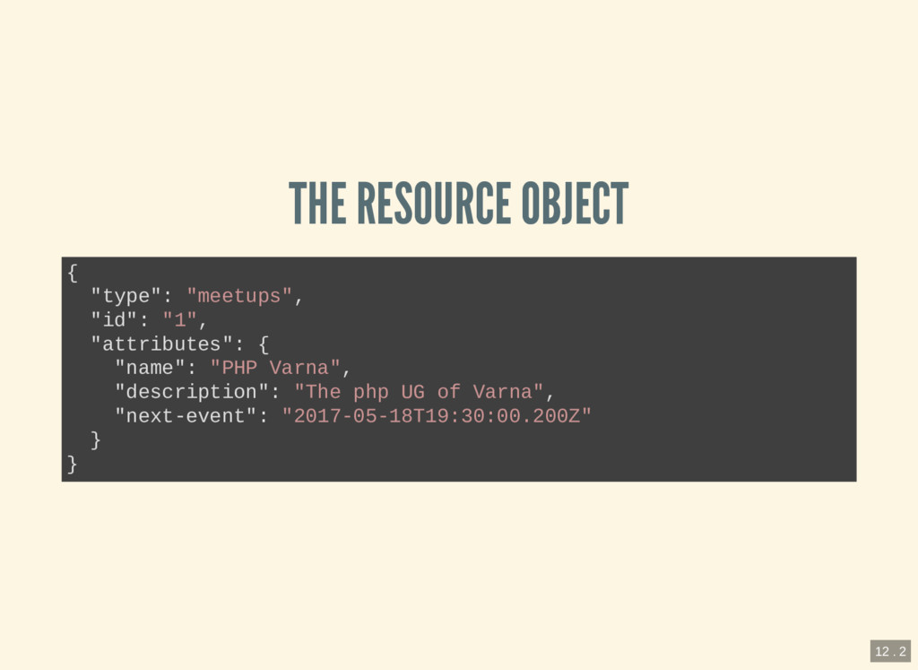 """THE RESOURCE OBJECT { """"type"""": """"meetups"""", """"id"""": ..."""