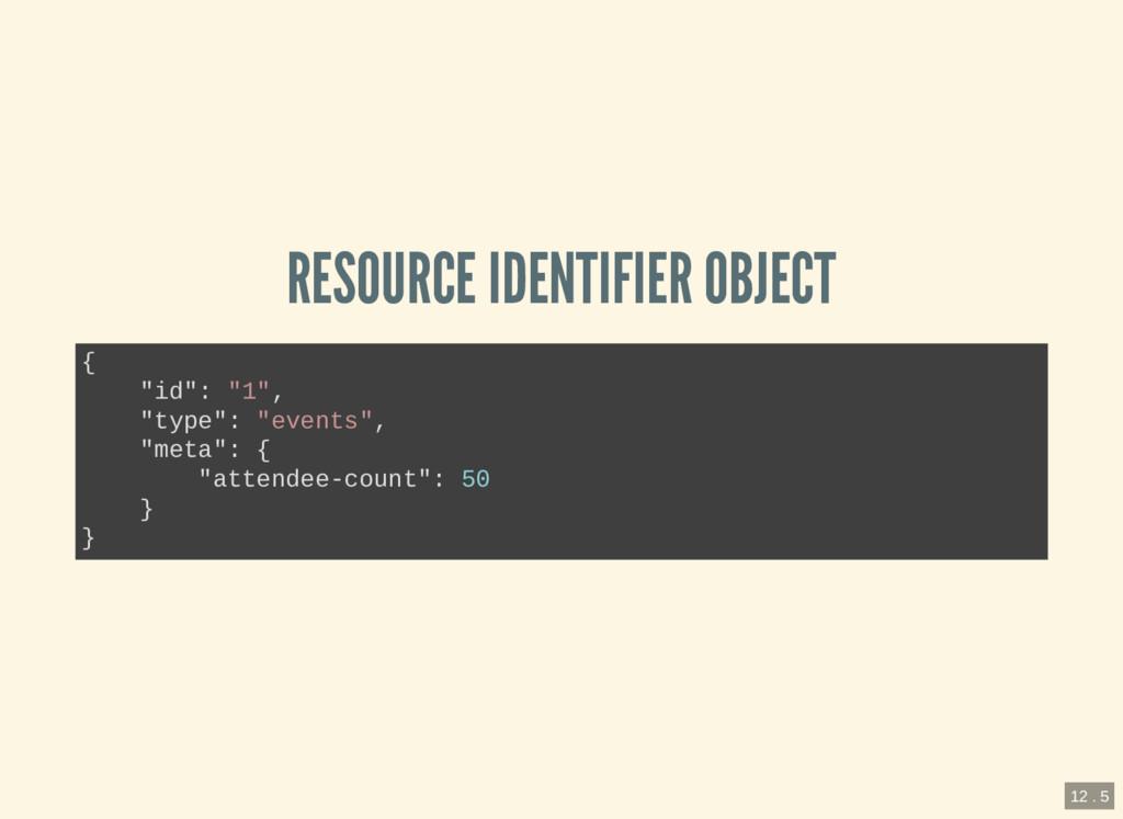 """RESOURCE IDENTIFIER OBJECT { """"id"""": """"1"""", """"type"""":..."""