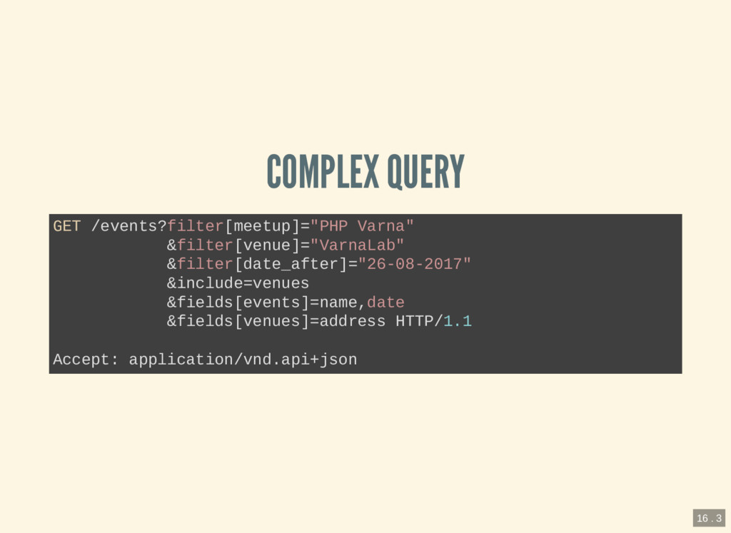 """COMPLEX QUERY GET /events?filter[meetup]=""""PHP V..."""