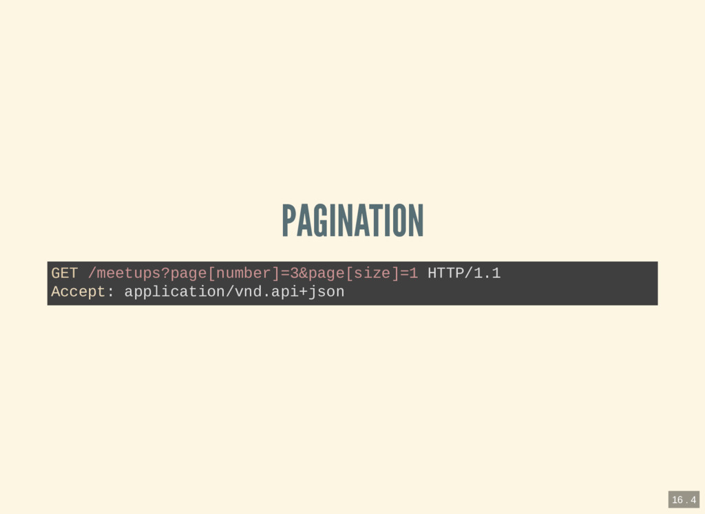 PAGINATION GET /meetups?page[number]=3&page[siz...