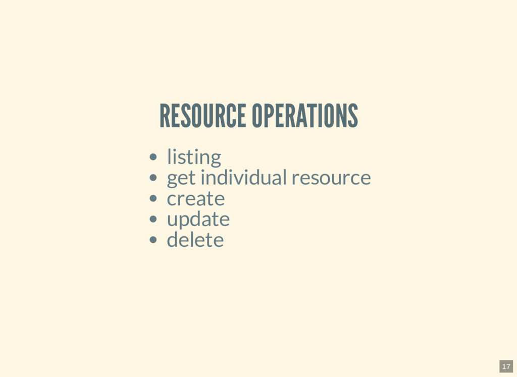 RESOURCE OPERATIONS listing get individual reso...