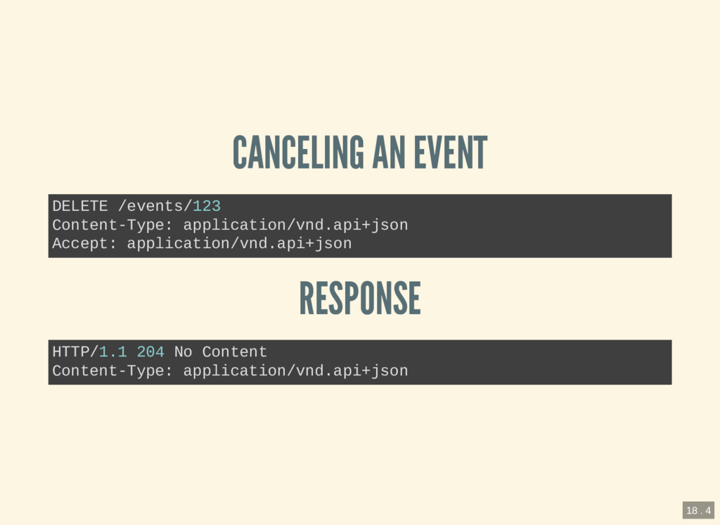 CANCELING AN EVENT RESPONSE DELETE /events/123 ...
