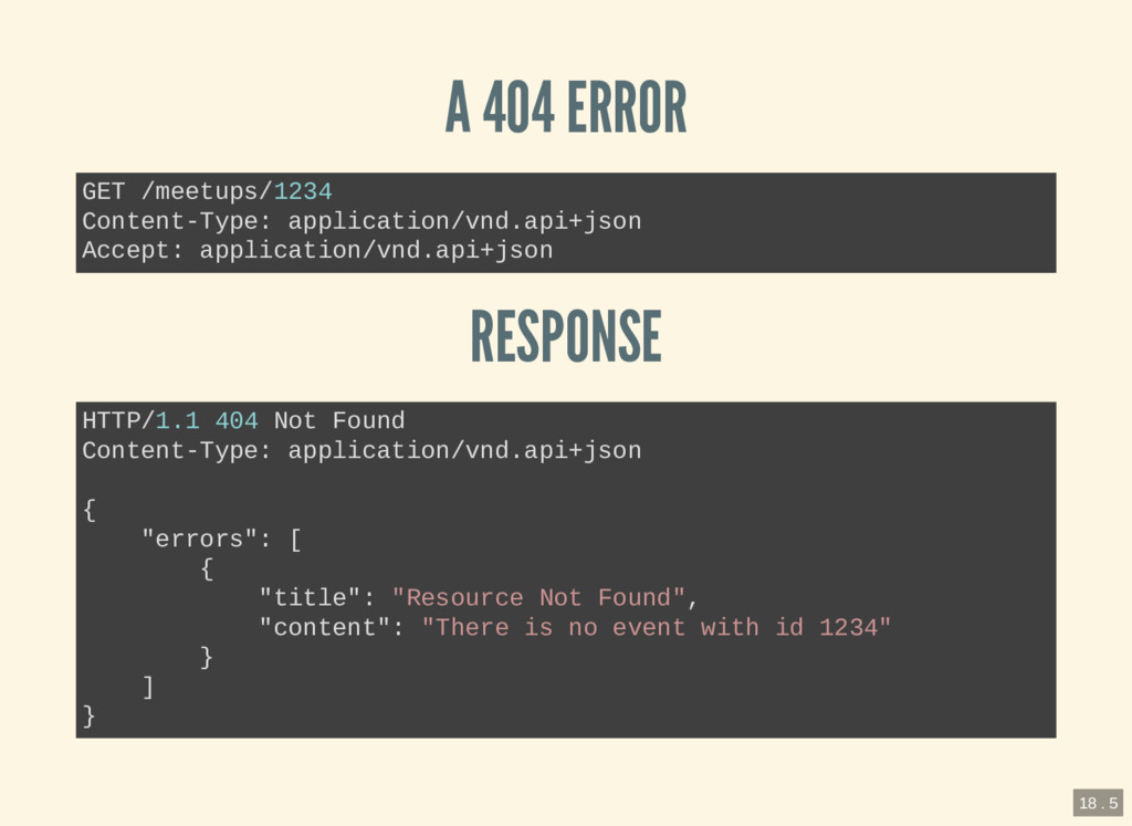 A 404 ERROR RESPONSE GET /meetups/1234 Content-...