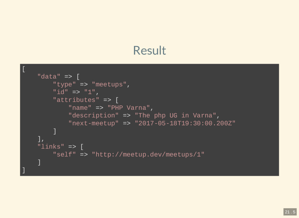 "Result [ ""data"" => [ ""type"" => ""meetups"", ""id"" ..."