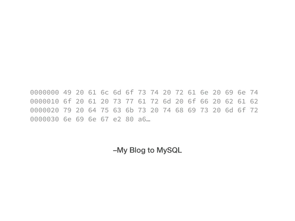 –My Blog to MySQL 0000000 49 20 61 6c 6d 6f 73 ...