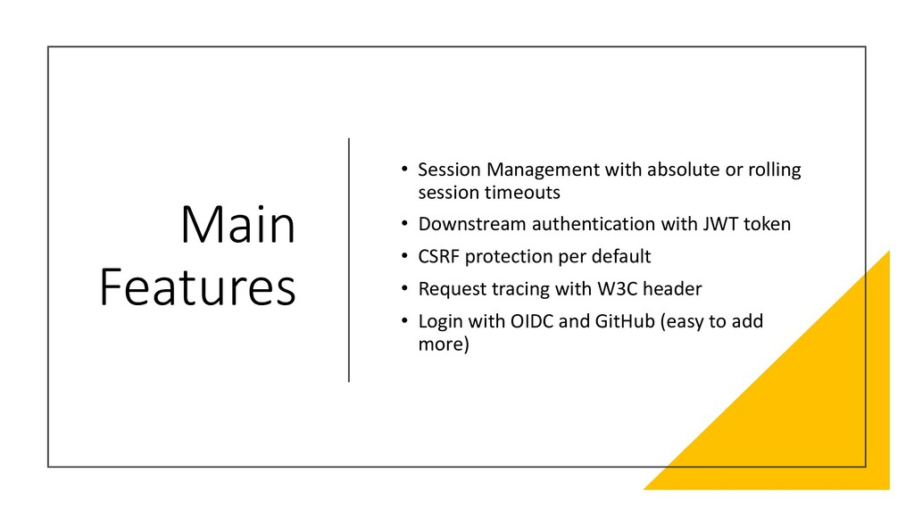 Main Features • Session Management with absolut...