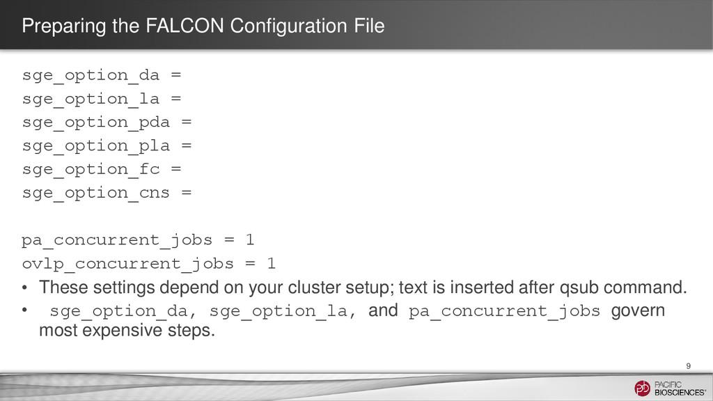 Preparing the FALCON Configuration File sge_opt...