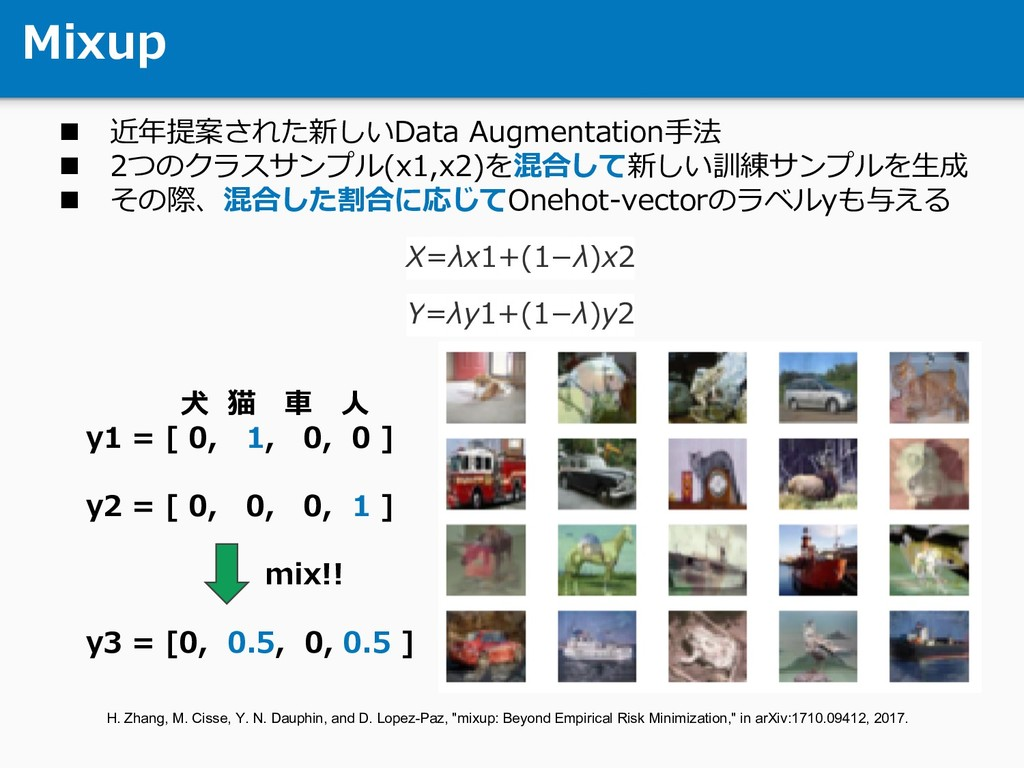 Mixup n 近年提案された新しいData Augmentation⼿法 n 2つのクラスサ...