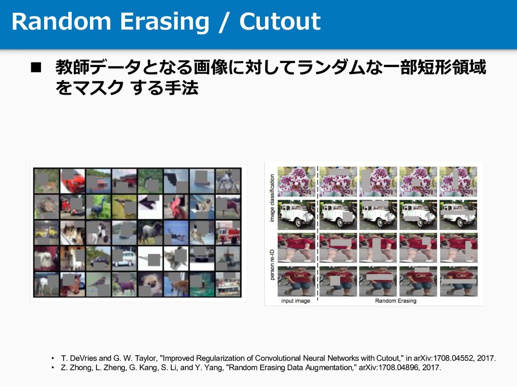 Random Erasing / Cutout n 教師データとなる画像に対してランダムな⼀部...