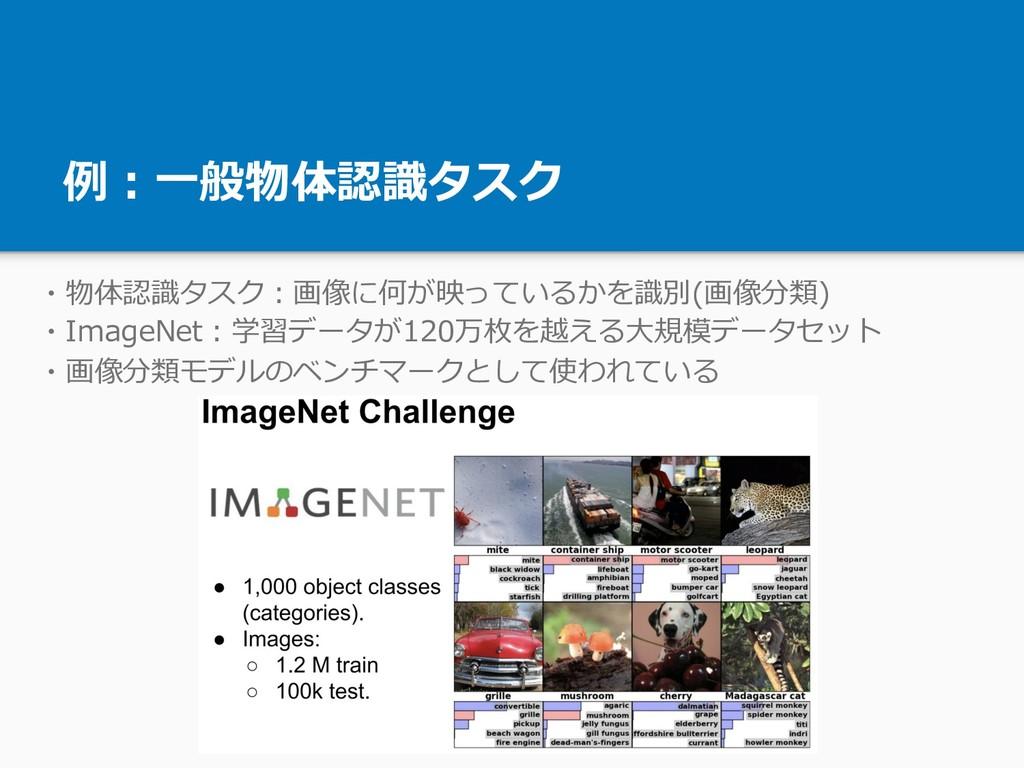 例:⼀般物体認識タスク ・物体認識タスク:画像に何が映っているかを識別(画像分類) ・Imag...