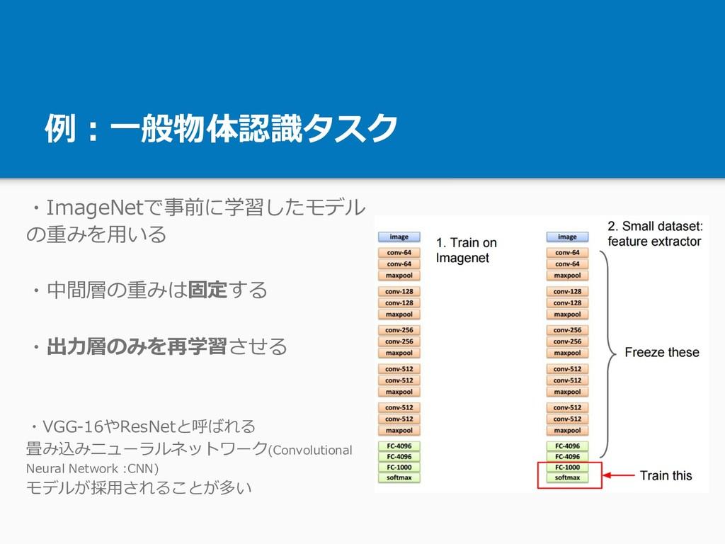 例:⼀般物体認識タスク ・ImageNetで事前に学習したモデル の重みを⽤いる ・中間層の重...