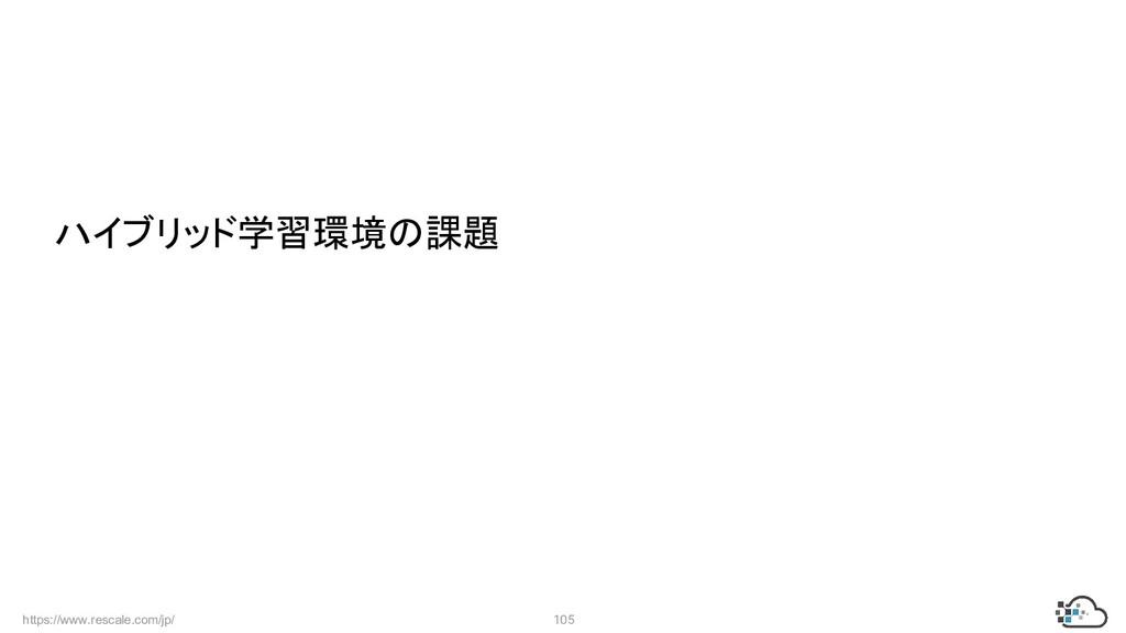 https://www.rescale.com/jp/ 105  ハイブリッド学習環境の課題