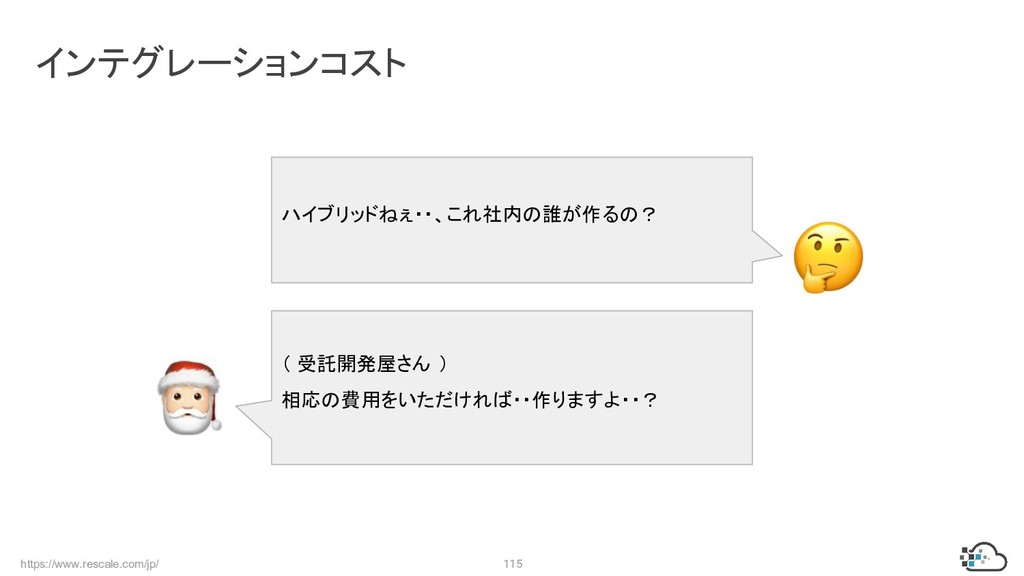 https://www.rescale.com/jp/ 115 インテグレーションコスト ハイ...