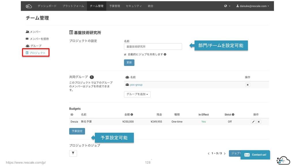 https://www.rescale.com/jp/ 128 部門/チームを設定可能 予算設...