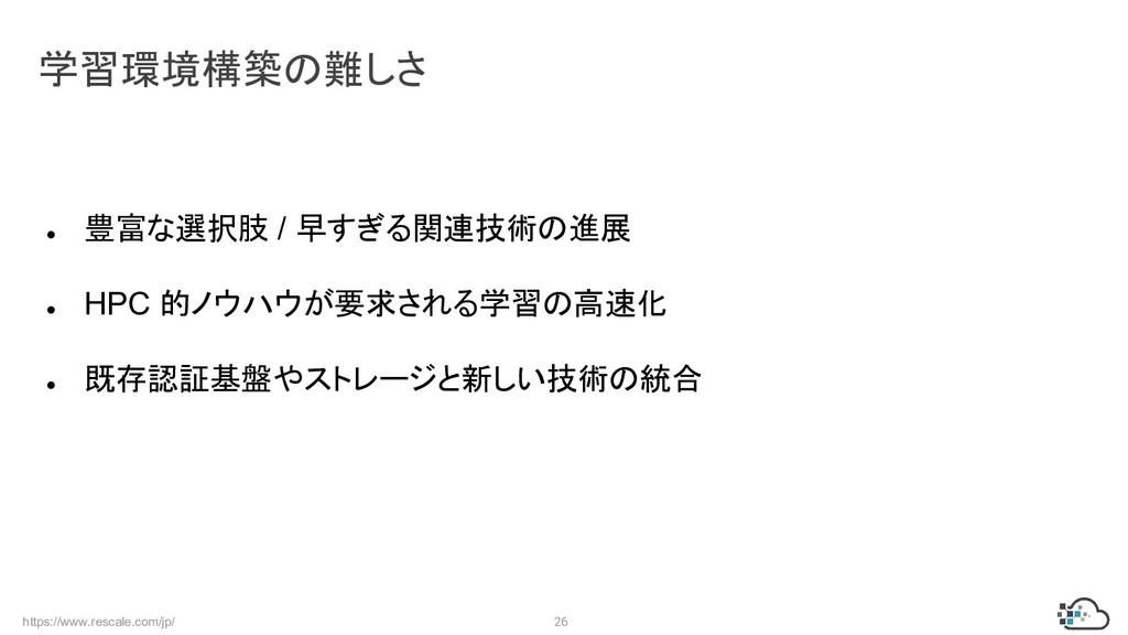 https://www.rescale.com/jp/ 26 ● 豊富な選択肢 / 早すぎる関...