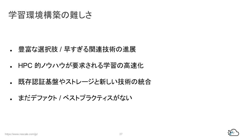 https://www.rescale.com/jp/ 27 ● 豊富な選択肢 / 早すぎる関...