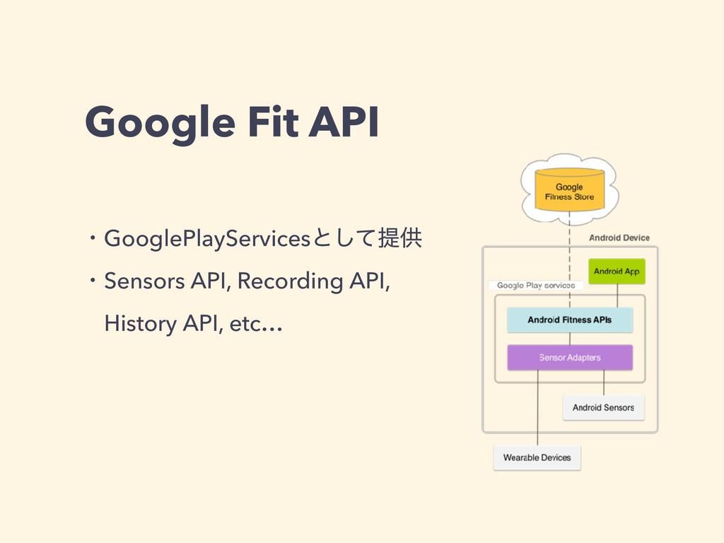 Google Fit API ɾGooglePlayServicesͱͯ͠ఏڙ ɾSensor...