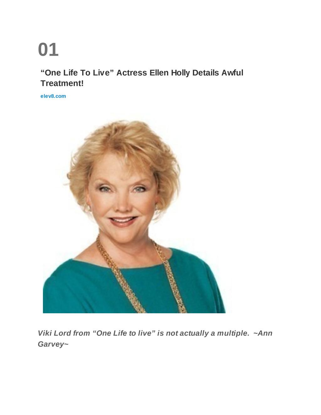 "01 ""One Life To Live"" Actress Ellen Holly Detai..."
