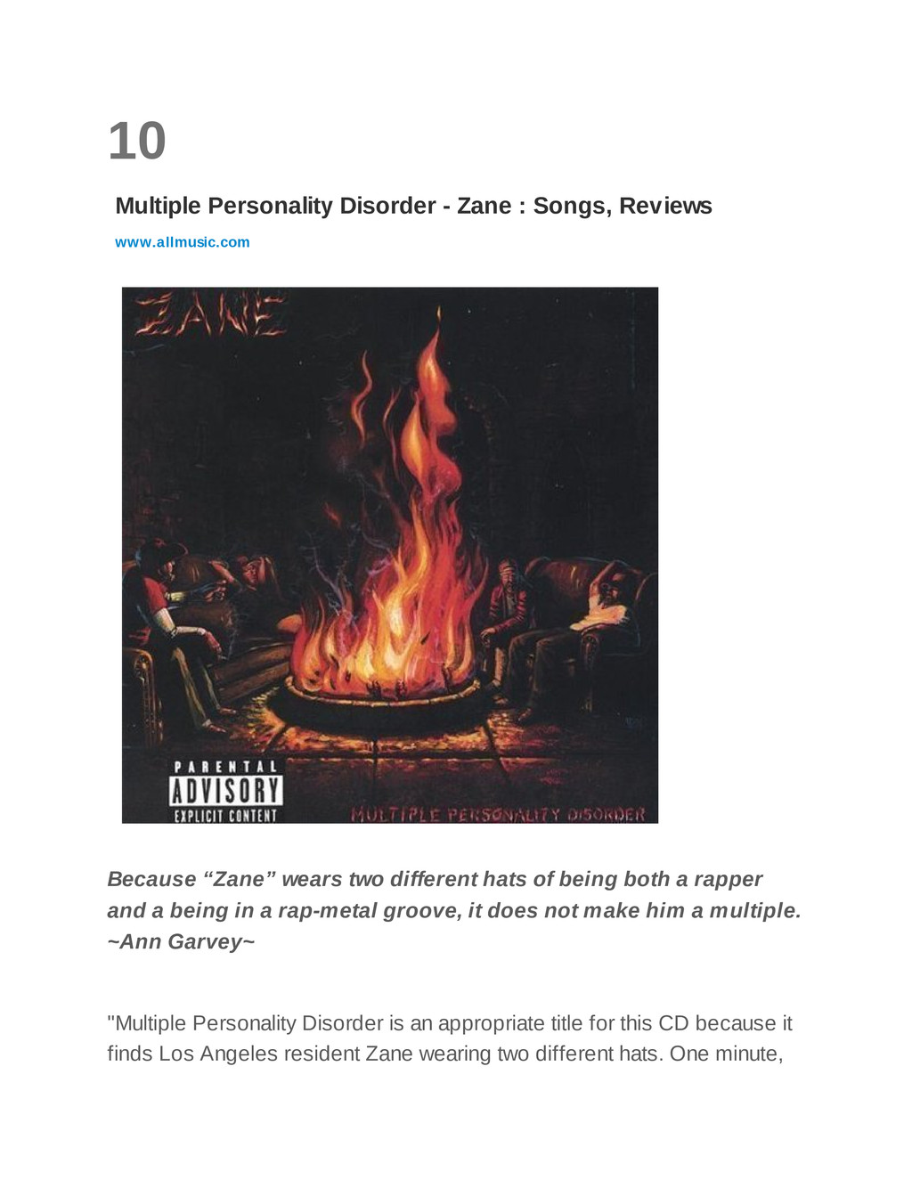10 Multiple Personality Disorder - Zane : Songs...